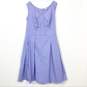 eShakti Sleeveless Pleated Fit & Flare Dress